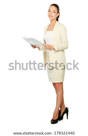 Portrait of a happy business woman holding papers,Isolated on white background