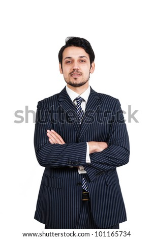 portrait of a happy businessman, biracial businessman isolated on white - stock photo