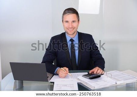 Portrait Of A Happy Businessman Calculating Finance - stock photo