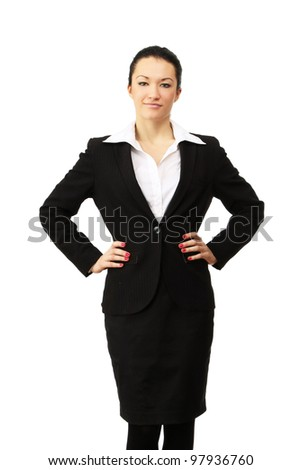 Portrait of a happy businesswoman , isolated on white background - stock photo