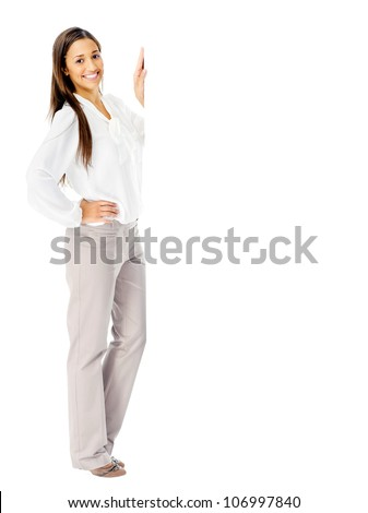 Portrait of a happy businesswoman with blank white board for advertising copyspace. isolated in studio - stock photo