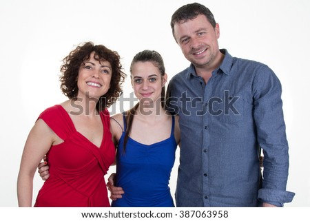 Portrait of a happy caucasian family consisting of father,mother and daughter isolated on a white background - stock photo