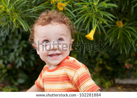 portrait of a happy child - stock photo