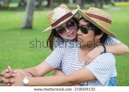 Portrait of a happy couple - stock photo