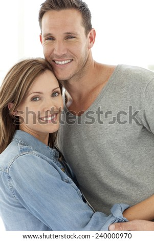 Portrait of a happy couple. Man and woman in their thirties. - stock photo