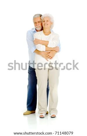 portrait of a happy couple of elderly - stock photo