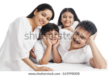 Portrait of a happy family - stock photo