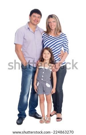Portrait of a happy family in a full length - stock photo