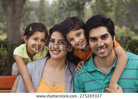 Portrait of a happy family outdoors
