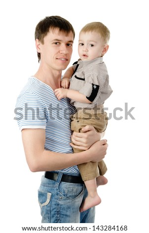 Portrait of a happy father with his little son. isolated on white background