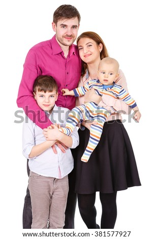 Portrait of a happy four-member family. Isolated on White Background. Father and Mother with two boys. Parents with Children.