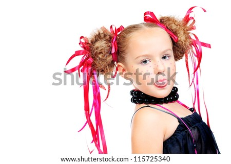 Portrait of a happy funny girl with festive make-up, hairstyle. Isolated over white.