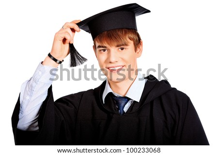 Portrait of a happy graduating student. Isolated over white background.