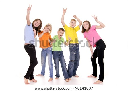 portrait of a happy kids posing on white
