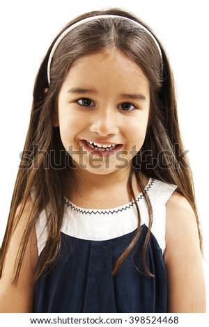 Portrait of a happy liitle girl close-up. Isolated on white background  - stock photo