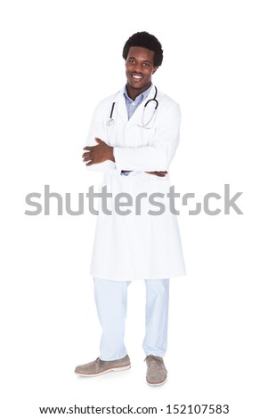 Portrait Of A Happy Male African Doctor Isolated On White Background