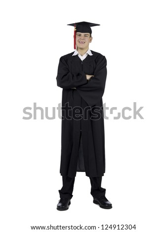 Portrait of a happy male graduate with arm crossed standing on a white background - stock photo