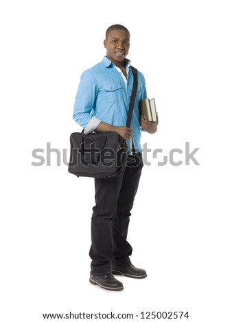 Portrait of a happy male student with sling bag holding books on a white background