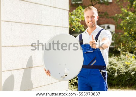 Satellite Installation Images RoyaltyFree Images Vectors – Satellite Dish Technician