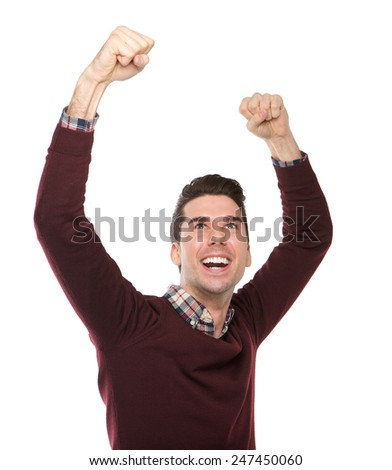 Portrait of a happy man cheering with arms raised on isolated white background  - stock photo