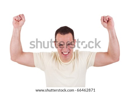 Portrait of a happy  man with his arms raised, on white background. Studio shot