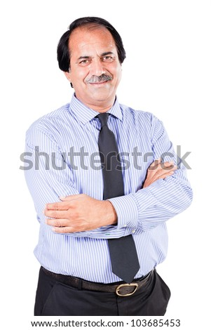 portrait of a happy mature businessman isolated on white