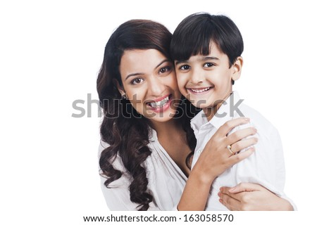Portrait of a happy mother and son - stock photo