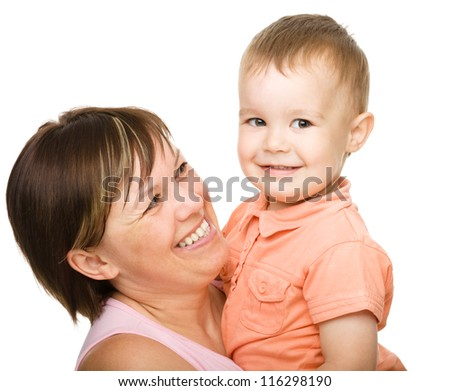 Portrait of a happy mother hugging her son, isolated over white