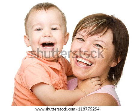 Portrait of a happy mother hugging her son, isolated over white - stock photo