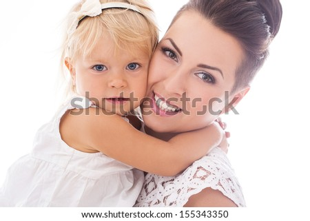 Portrait of a happy mother who is holding her adorable daughter