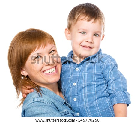 Portrait of a happy mother with her son, isolated over white