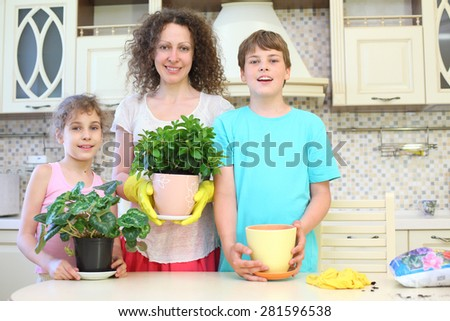 Portrait of a happy mother with son and daughter with houseplants in the kitchen - stock photo