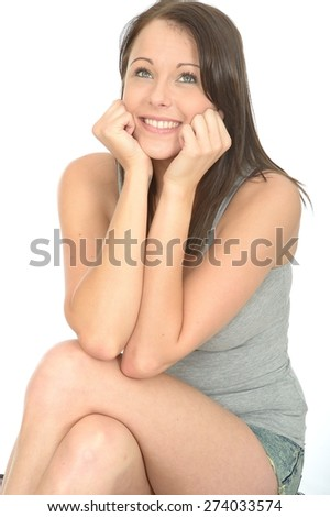 Portrait of a Happy Pleased Relaxed Young Woman in Her Twenties Smiling and Looking Pleased - stock photo