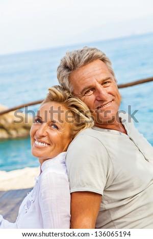 Portrait of a happy romantic couple outdoors. - stock photo