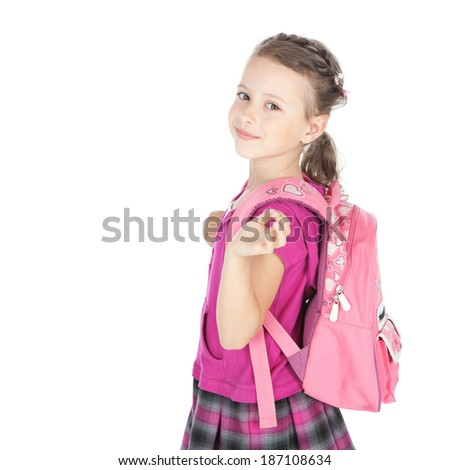 Portrait of a happy schoolgirl with pink backpack over white background - stock photo