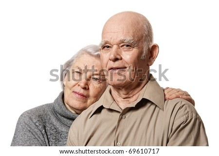 Portrait of a happy senior couple embracing each other