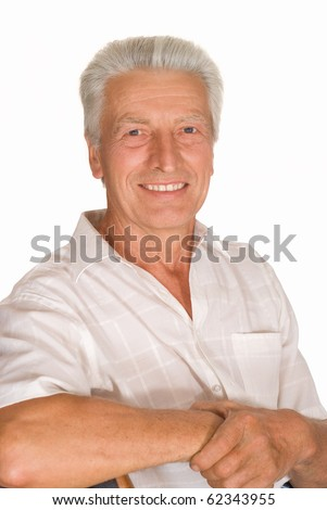 Portrait of a happy senior man isolated