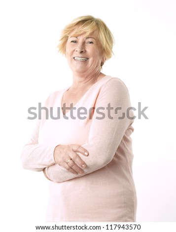 Portrait of a happy senior woman - stock photo
