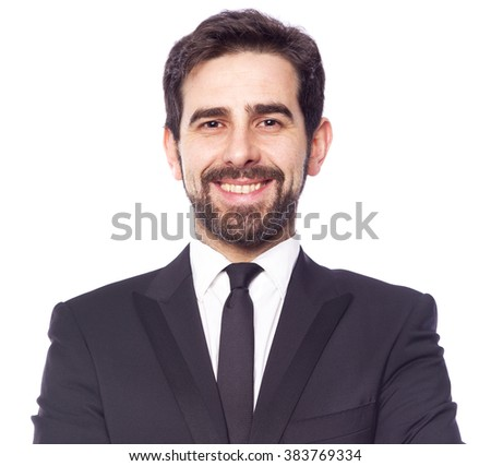 Portrait of a happy smiling business man, isolated on white background - stock photo