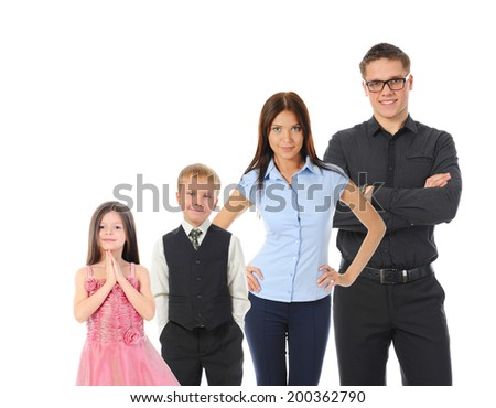 Portrait of a happy smiling family. Isolated on white background