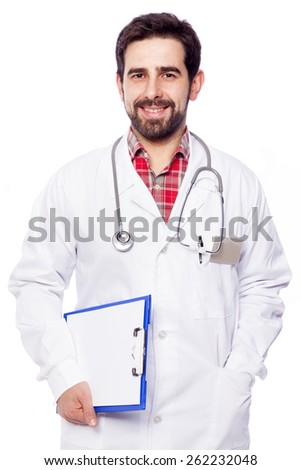 Portrait of a happy smiling medical doctor on white background - stock photo