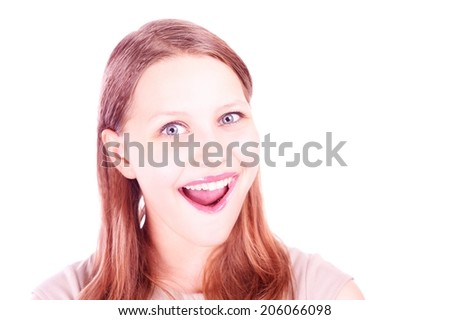 Portrait of a happy surprised teen girl - stock photo