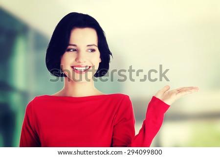 Portrait of a happy woman - stock photo