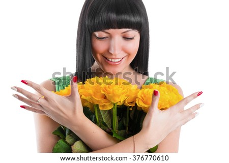 Portrait of a happy woman with a bouquet of roses - stock photo