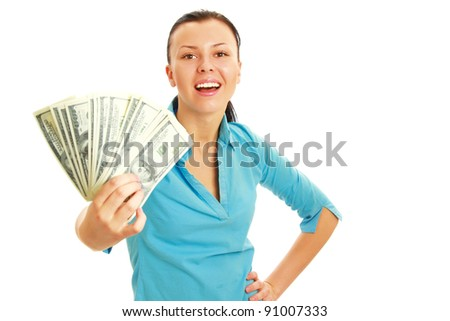 Portrait of a happy woman with american dollar currency notes ,isolated on white background