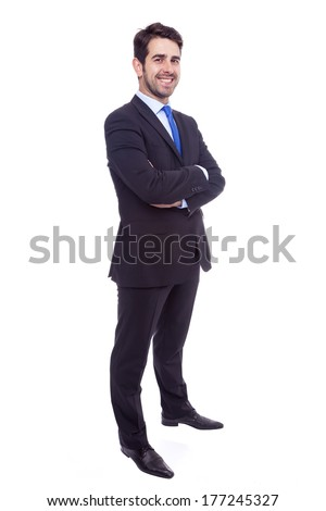 Portrait of a happy young business man isolated on white background