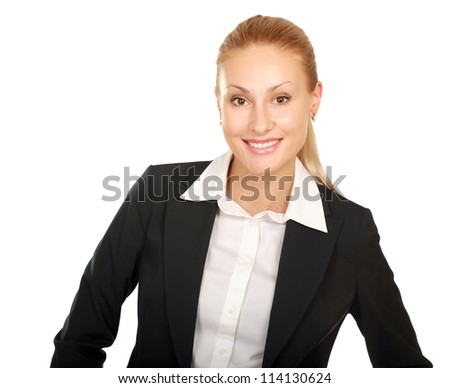 Portrait of a happy young business woman standing  white background - stock photo