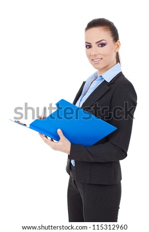 Portrait of a happy young business woman taking notes and looking at the camera isolated over white background - stock photo