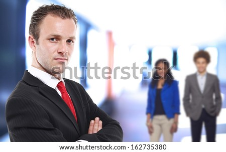 Portrait of a happy young businessman - stock photo