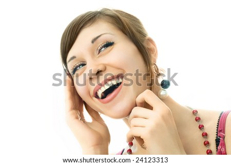 portrait of a happy young laughing woman, isolated against white background